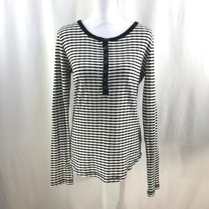 Lucky Brand Top Striped Long Sleeves Tee
